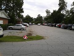 Full parking lot in Hahira