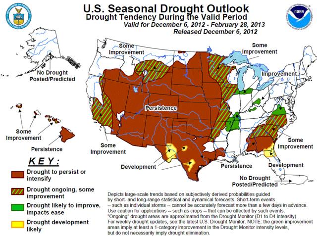 U.S. Seasonal Drought Outlook by NOAA