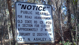 Public Hearing sign on Old State Road