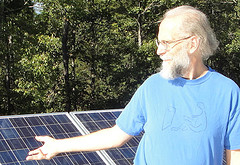 Solar panels on farm workshop --John S. Quarterman